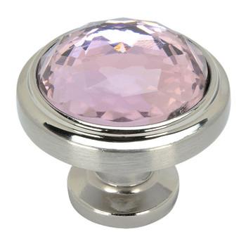 Cosmas 5317SN-P Satin Nickel & Pink Glass Round Cabinet Knob
