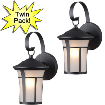 Black Outdoor Patio / Porch Exterior Light Fixtures - Twin Pack : 22-9692