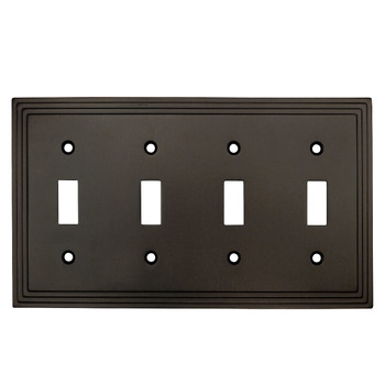 Cosmas 25045-ORB Oil Rubbed Bronze Quad Toggle Switchplate Cover