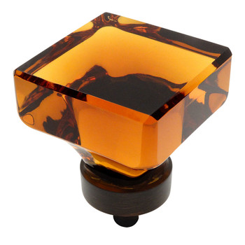 Cosmas 6377ORB-A Oil Rubbed Bronze & Amber Glass Square Cabinet Knob
