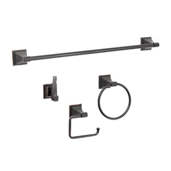Designers Impressions 500 Series 4 Piece Oil Rubbed Bronze Bathroom Hardware Set: BA500-4