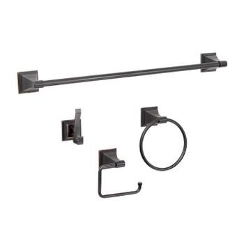 Designers Impressions 500 Series 4 Piece Oil Rubbed Bronze Bathroom Hardware Set: BA500-4