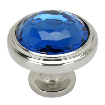 Cosmas 5317SN-BL Satin Nickel & Blue Glass Round Cabinet Knob