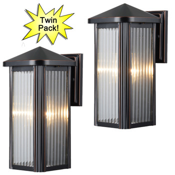 Hardware House Oil Rubbed Bronze Outdoor Patio / Porch Exterior Light Fixture-Twin Pack: 23-0742