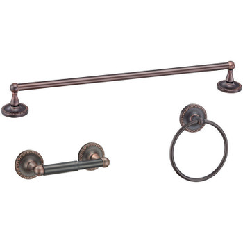 Designers Impressions Naples Series 3 Piece Oil Rubbed Bronze Bathroom Hardware Set: 19335