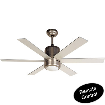 "Horizon Satin Nickel Remote Control 48"" Ceiling Fan w/ Light Kit : 7324"