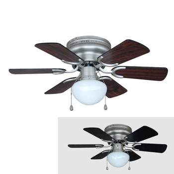 "Satin Nickel 30"" Hugger Ceiling Fan w/ Light Kit : 4725"