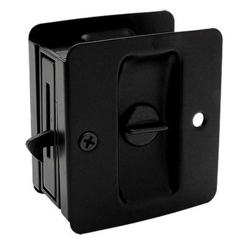 Designers Impressions Matte Black Pocket Door Privacy Lock : 53850