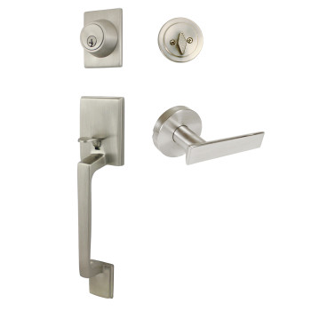 Designers Impressions Churchill Design Satin Nickel Handleset with Laurel Interior