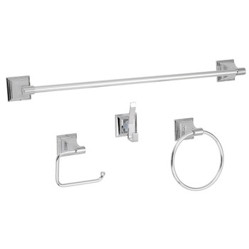 Designers Impressions 600 Series 4 Piece Polished Chrome Bathroom Hardware Set: BA600-4
