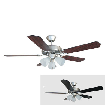 "Satin Nickel 52"" Ceiling Fan w/ Light Kit : 5890"