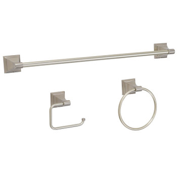 Designers Impressions 400 Series 3 Piece Satin Nickel Bathroom Hardware Set: BA400-3