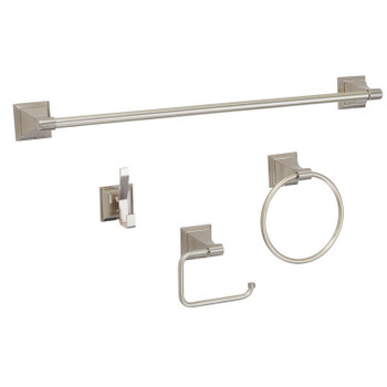 Designers Impressions 400 Series 4 Piece Satin Nickel Bathroom Hardware Set: BA400-4