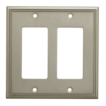 Cosmas 65088-SN Satin Nickel Double GFCI / Decora Wall Plate