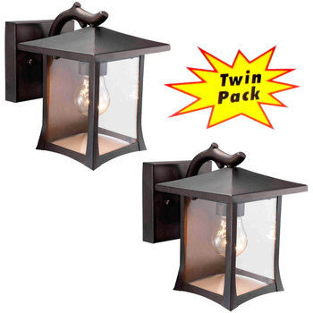 Designers Impressions Black Outdoor Patio / Porch Exterior Light Fixtures - Twin Pack : 73474