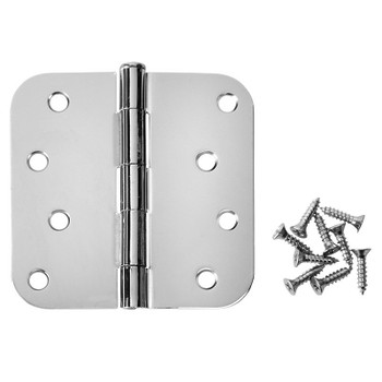"Cosmas Polished Chrome Door Hinge 4"" with 5/8"" Radius Corners: 24084"