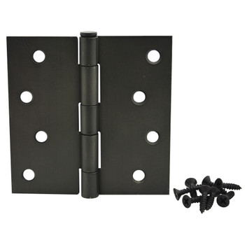 "Cosmas Oil Rubbed Bronze Door Hinge 4"" with Square Corners: 37670"