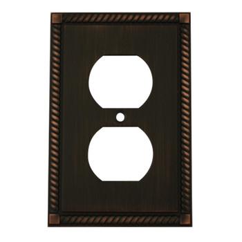 Cosmas 88033-ORB Oil Rubbed Bronze Single Duplex Wall Plate