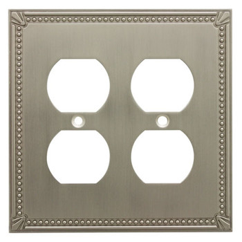 Cosmas 44013-SN Satin Nickel Double Duplex Outlet Wall Plate