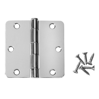 "Cosmas Polished Chrome Door Hinge 3 1/2"" with 1/4"" Radius Corners: 24107"