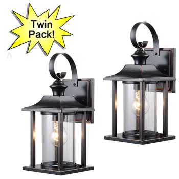 Designers Impressions Oil Rubbed Bronze Outdoor Patio / Porch Exterior Light Fixture-Twin Pack: 73479