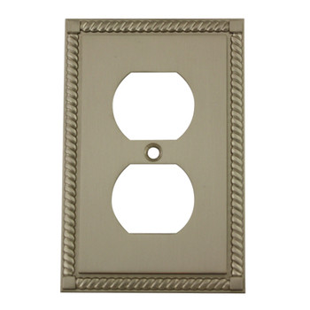 Cosmas 88033-SN Satin Nickel Single Duplex Wall Plate