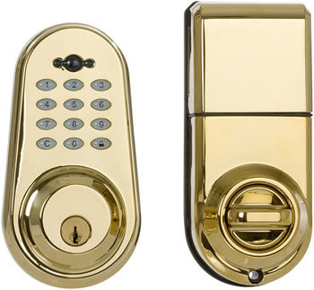 Delaney Privex Polished Brass Single Cylinder Digital Deadbolt with Remote Control and Exterior Keypad