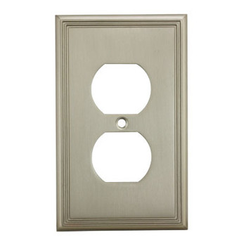 Cosmas 65049-SN Satin Nickel Single Duplex Outlet Wall Plate