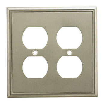 Cosmas 65044-SN Satin Nickel Double Duplex Outlet Wall Plate