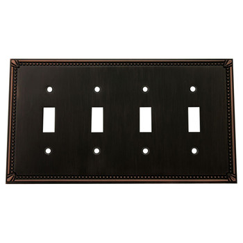 Cosmas 44036-ORB Oil Rubbed Bronze Quad Toggle Switchplate Cover