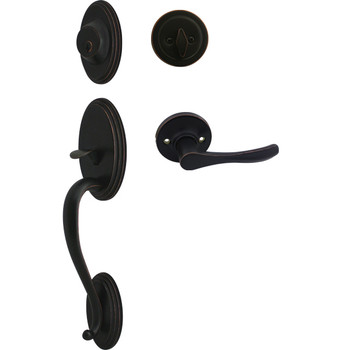 Cosmas 300 Series Oil Rubbed Bronze Handleset with 30 Series Interior: HS300/39-ORB