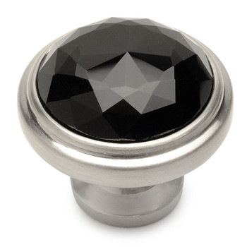 Cosmas 5317SN-X Satin Nickel & Black Glass Round Cabinet Knob