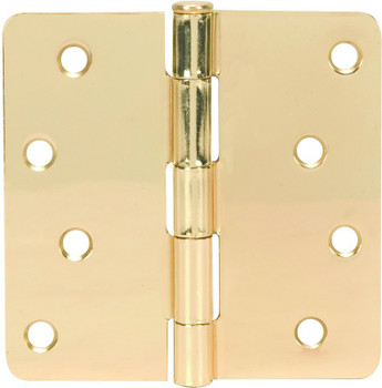 "Polished Brass Door Hinge 4"" with 1/4"" Radius Corners: 52-0726"