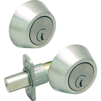 Designers Impressions Satin Nickel Double Cylinder Deadbolt: 22-2222