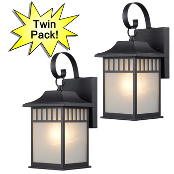 Designers Impressions Black Outdoor Patio / Porch Exterior Light Fixtures - Twin Pack : 73476
