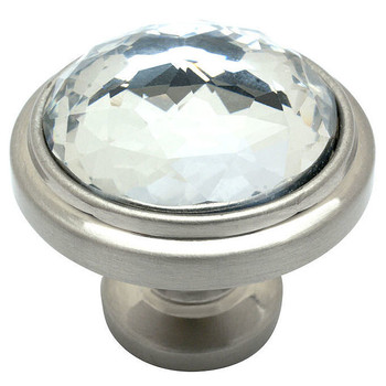 Cosmas 5317SN-C Satin Nickel & Clear Glass Round Cabinet Knob