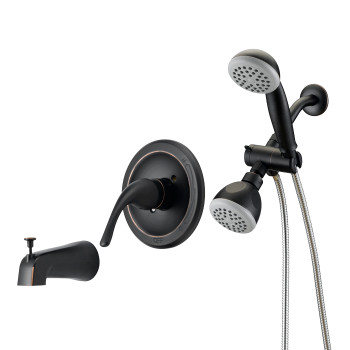 Designers Impressions 654708 Oil Rubbed Bronze Single Handle Tub / Shower Combo Faucet with Handheld Wand / Sprayer