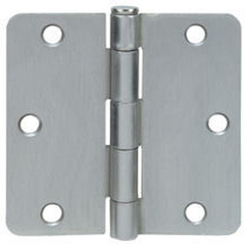 "Cosmas Satin Nickel Door Hinge 3 1/2"" with 1/4"" Radius Corners: 37588"
