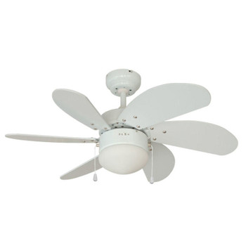 "White 30"" Ceiling Fan w/ Light Kit : 4937"