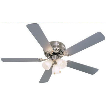 "Satin Nickel 52"" Hugger Ceiling Fan w/ Light Kit : 5893"