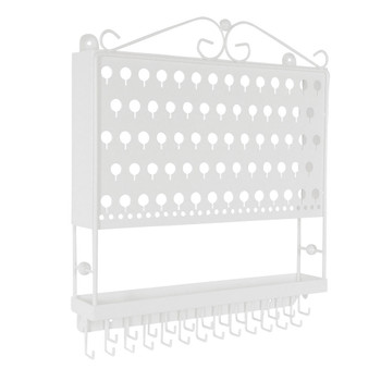 Designers Impressions JR20-WH White Large Wall Mounted Jewelry Organizer and Display Rack