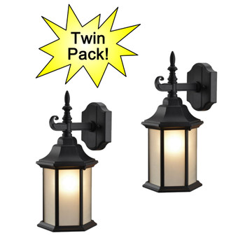 Black Outdoor Patio / Porch Exterior Light Fixtures - Twin Pack : 19-2057