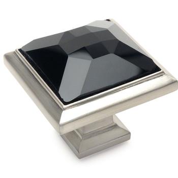 Cosmas 5883SN-X Satin Nickel & Black Glass Square Cabinet Knob