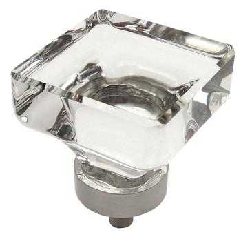 Cosmas 6377SN-C Satin Nickel & Clear Glass Square Cabinet Knob