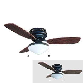 "Oil Rubbed Bronze 42"" Hugger Ceiling Fan w/ Light Kit : 6057"