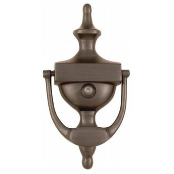 "Oil Rubbed Bronze 7"" Door Knocker with Viewer: 55-2158"