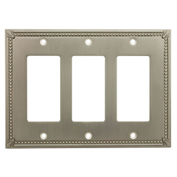 Cosmas 44095-SN Satin Nickel Triple GFCI / Decora Wall Plate