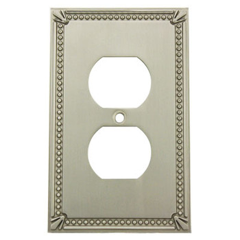 Cosmas 44018-SN Satin Nickel Single Duplex Outlet Wall Plate