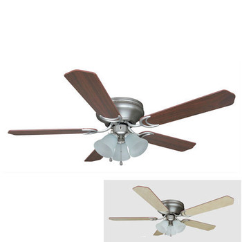 "Satin Nickel 52"" Hugger Ceiling Fan w/ Light Kit : 4985"