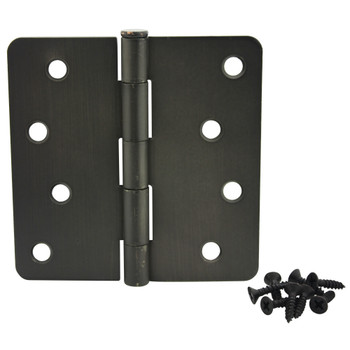 "Cosmas Oil Rubbed Bronze Door Hinge 4"" with 1/4"" Radius Corners: 37656"